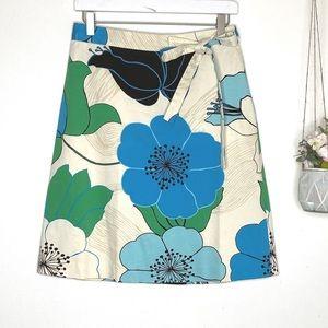 Banana Republic Green Blue Floral A-Line Skirt